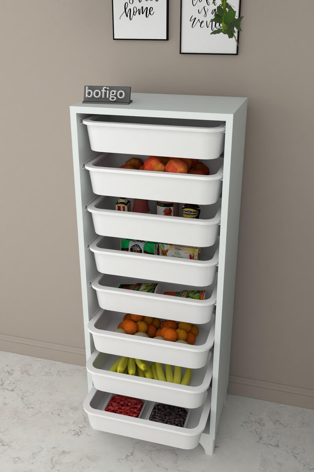 Bofigo 8 Sepetli Mutfak Dolabı Çok Amaçlı Dolap Sebzelik Beyaz