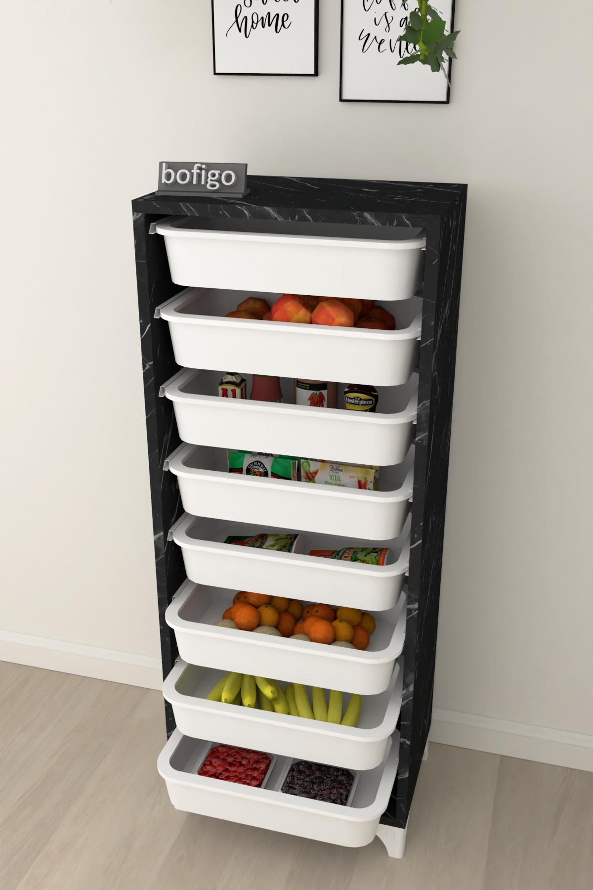 Bofigo 8 Sepetli Mutfak Dolabı Çok Amaçlı Dolap Sebzelik Bendir