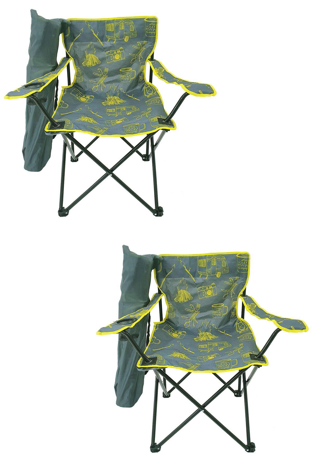 Bofigo 2 Adet Kamp Sandalyesi Katlanır Sandalye Bahçe Koltuğu Piknik Plaj Sandalyesi Desenli Gri