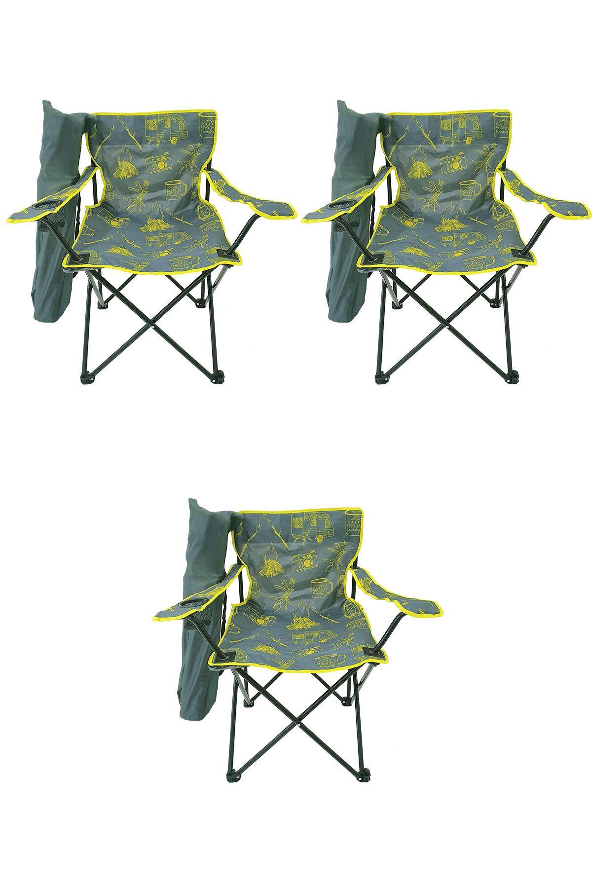 Bofigo 3 Adet Kamp Sandalyesi Katlanır Sandalye Bahçe Koltuğu Piknik Plaj Sandalyesi Desenli Gri