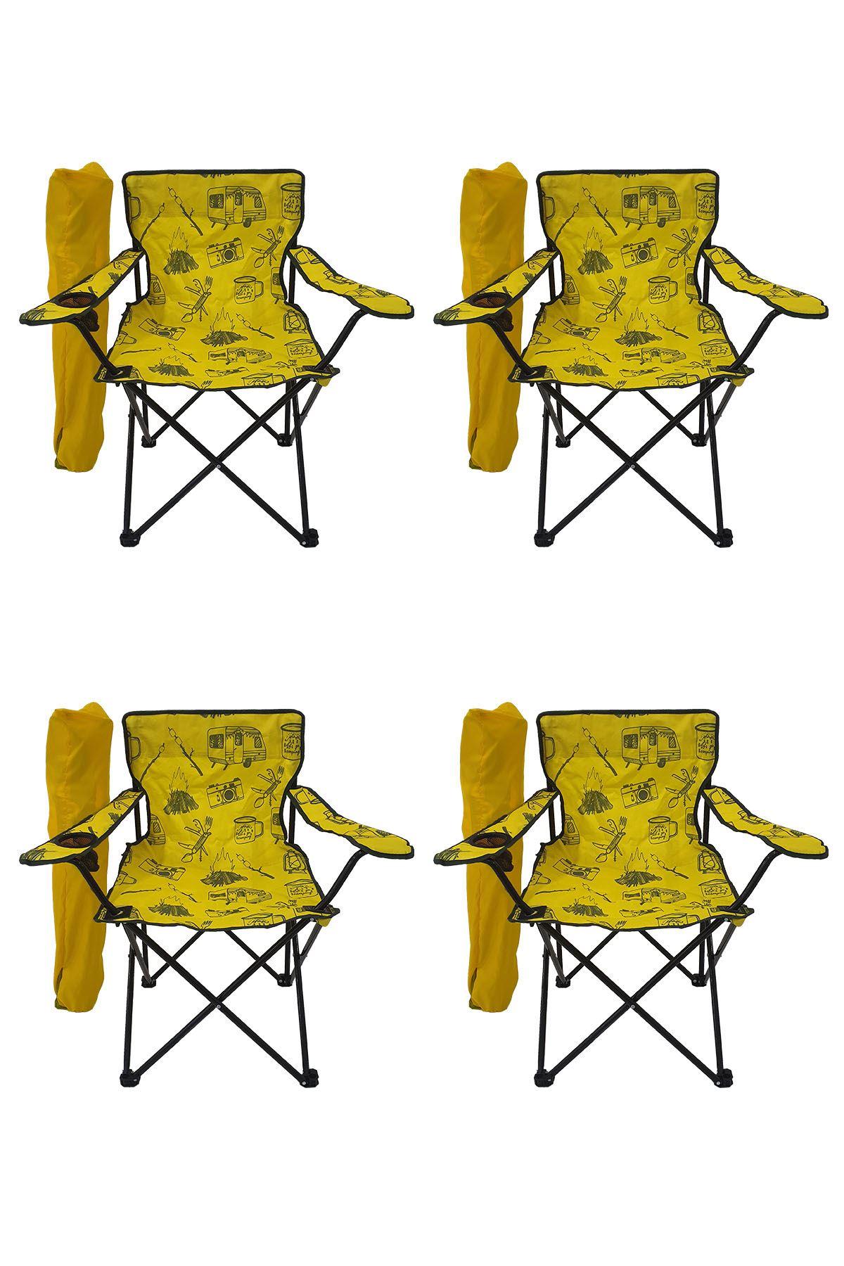 Bofigo 4 Adet Kamp Sandalyesi Katlanır Sandalye Bahçe Koltuğu Piknik Plaj Sandalyesi Desenli Sarı
