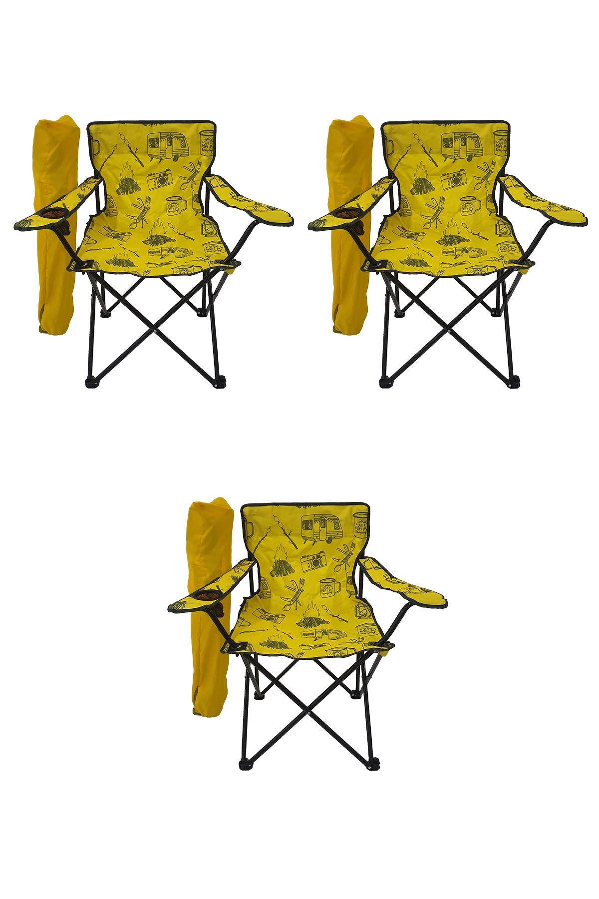Bofigo 3 Adet Kamp Sandalyesi Katlanır Sandalye Bahçe Koltuğu Piknik Plaj Sandalyesi Desenli Sarı