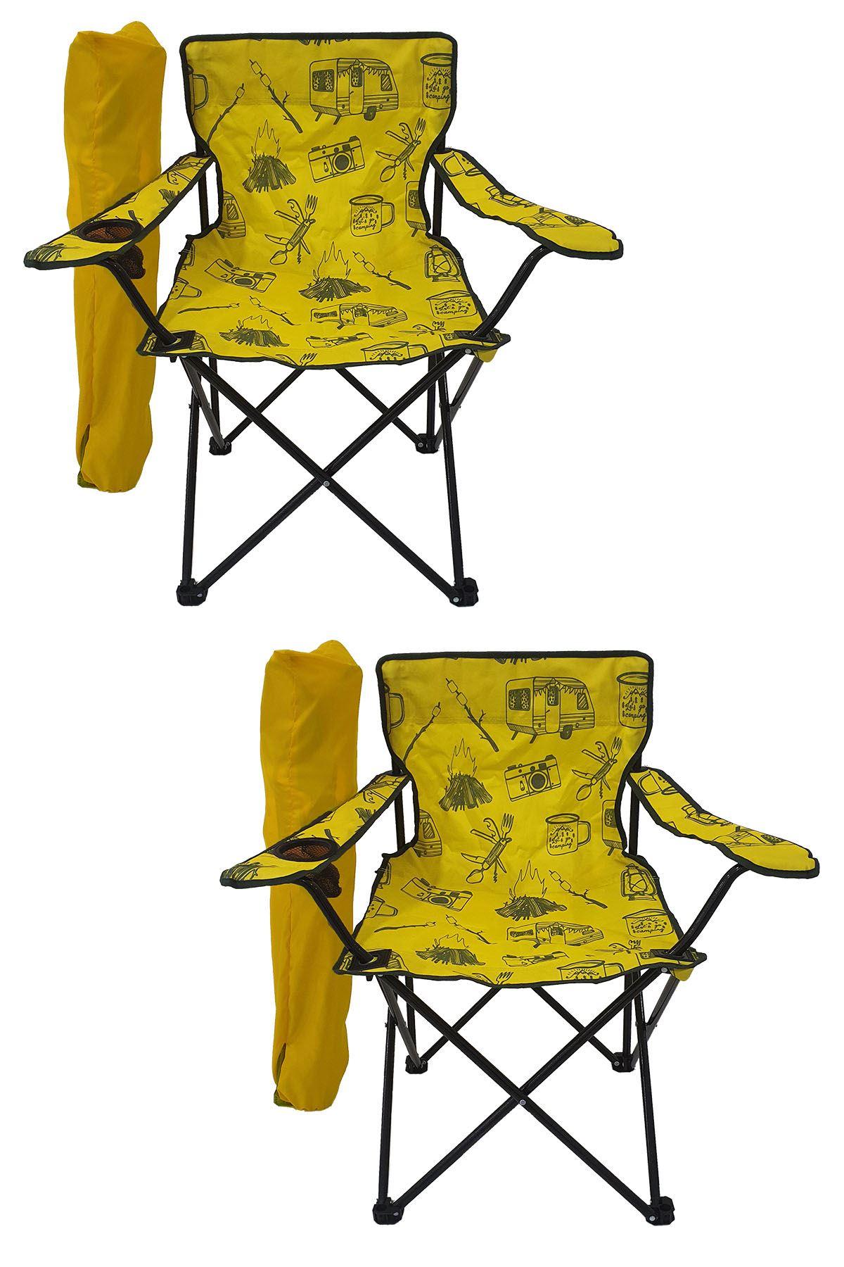 Bofigo 2 Adet Kamp Sandalyesi Katlanır Sandalye Bahçe Koltuğu Piknik Plaj Sandalyesi Desenli Sarı