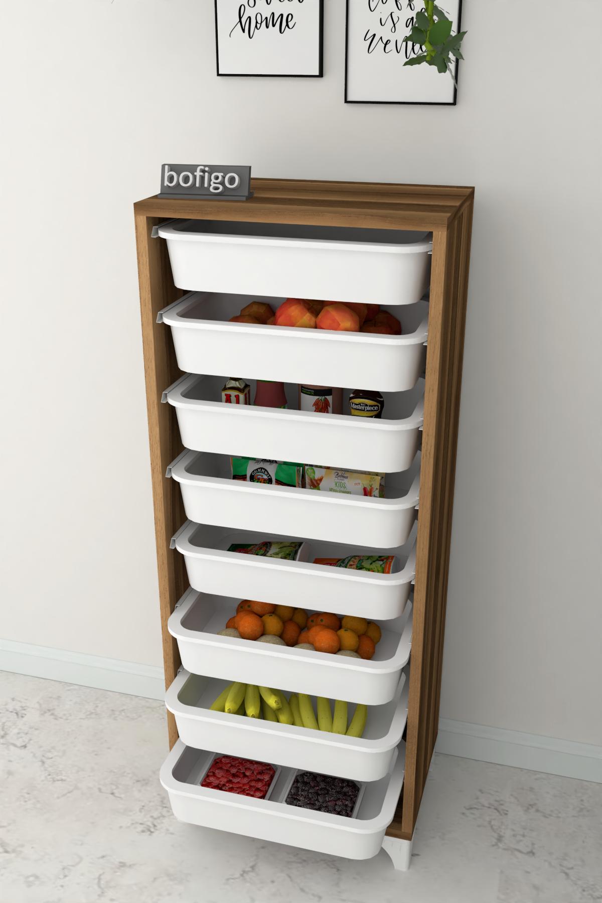 Bofigo 8 Sepetli Mutfak Dolabı Çok Amaçlı Dolap Sebzelik Ceviz