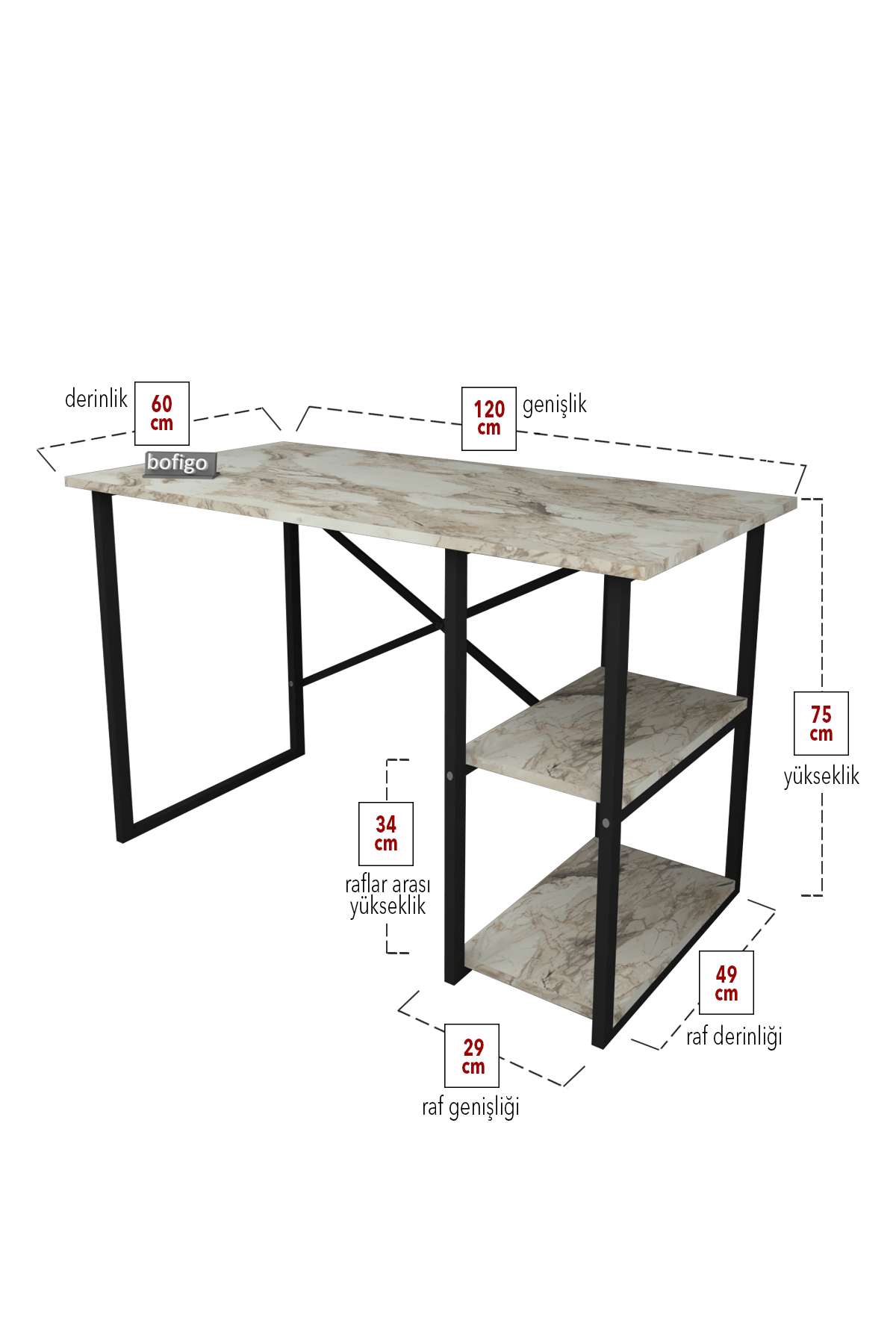 Bofigo 2 Raflı Çalışma Masası 60x120 cm Efes