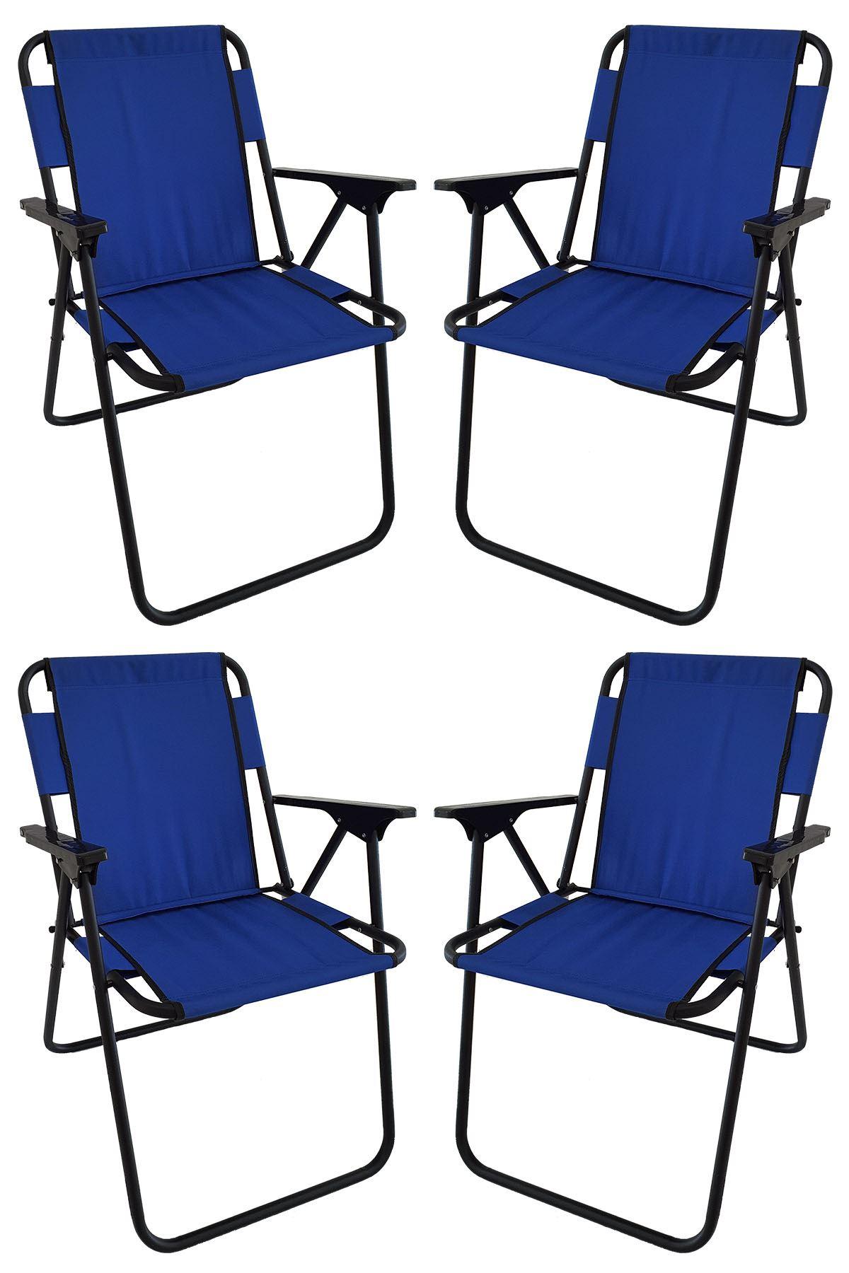 Bofigo 4 Adet Kamp Sandalyesi Katlanır Sandalye Piknik Sandalyesi Plaj Sandalyesi Mavi