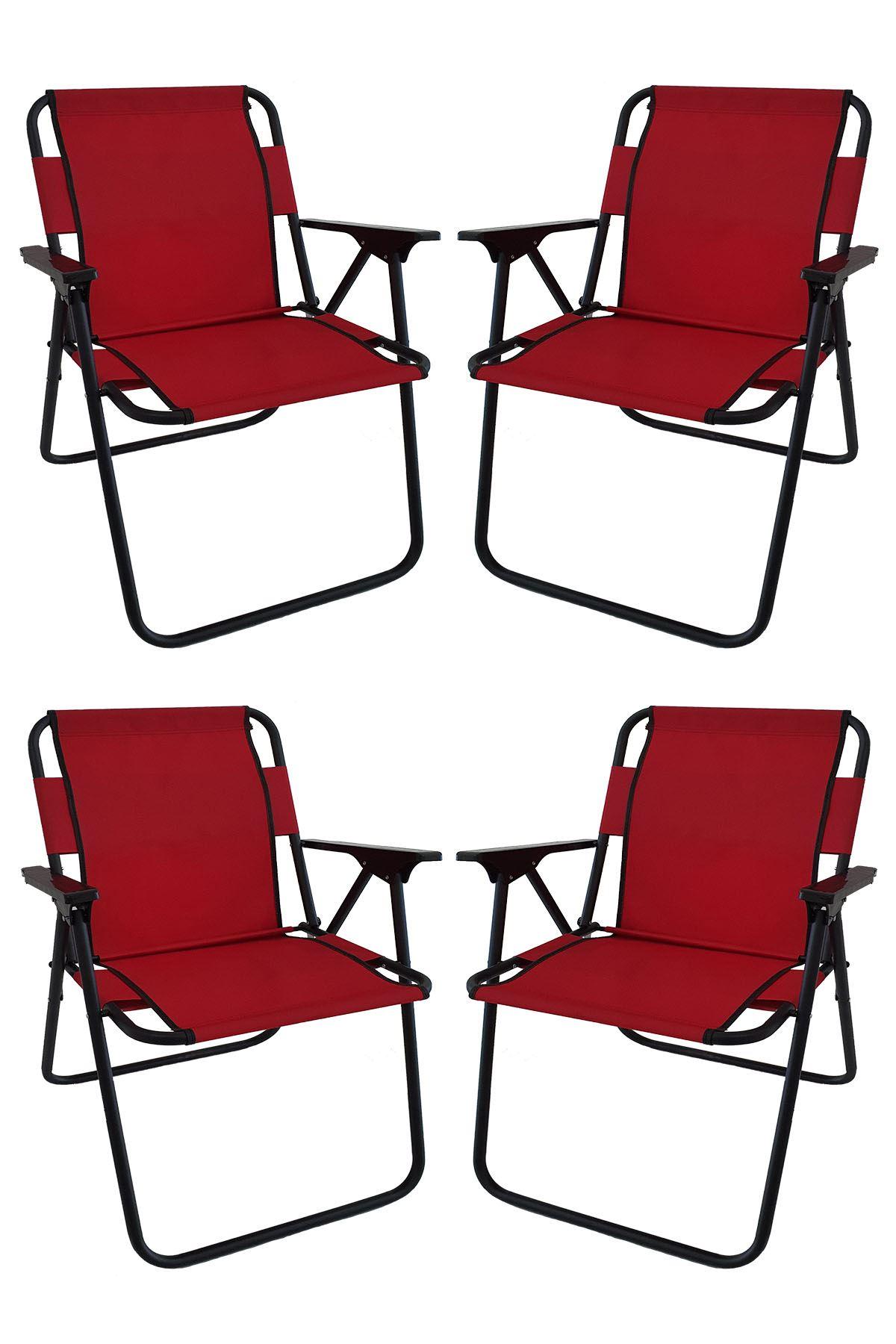 Bofigo 4 Adet Kamp Sandalyesi Katlanır Sandalye Piknik Sandalyesi Plaj Sandalyesi Kırmızı