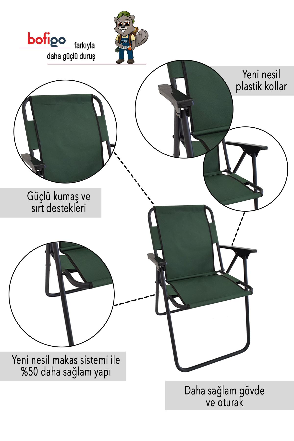 Bofigo 3 Adet Kamp Sandalyesi Katlanır Sandalye Piknik Sandalyesi Plaj Sandalyesi Yeşil