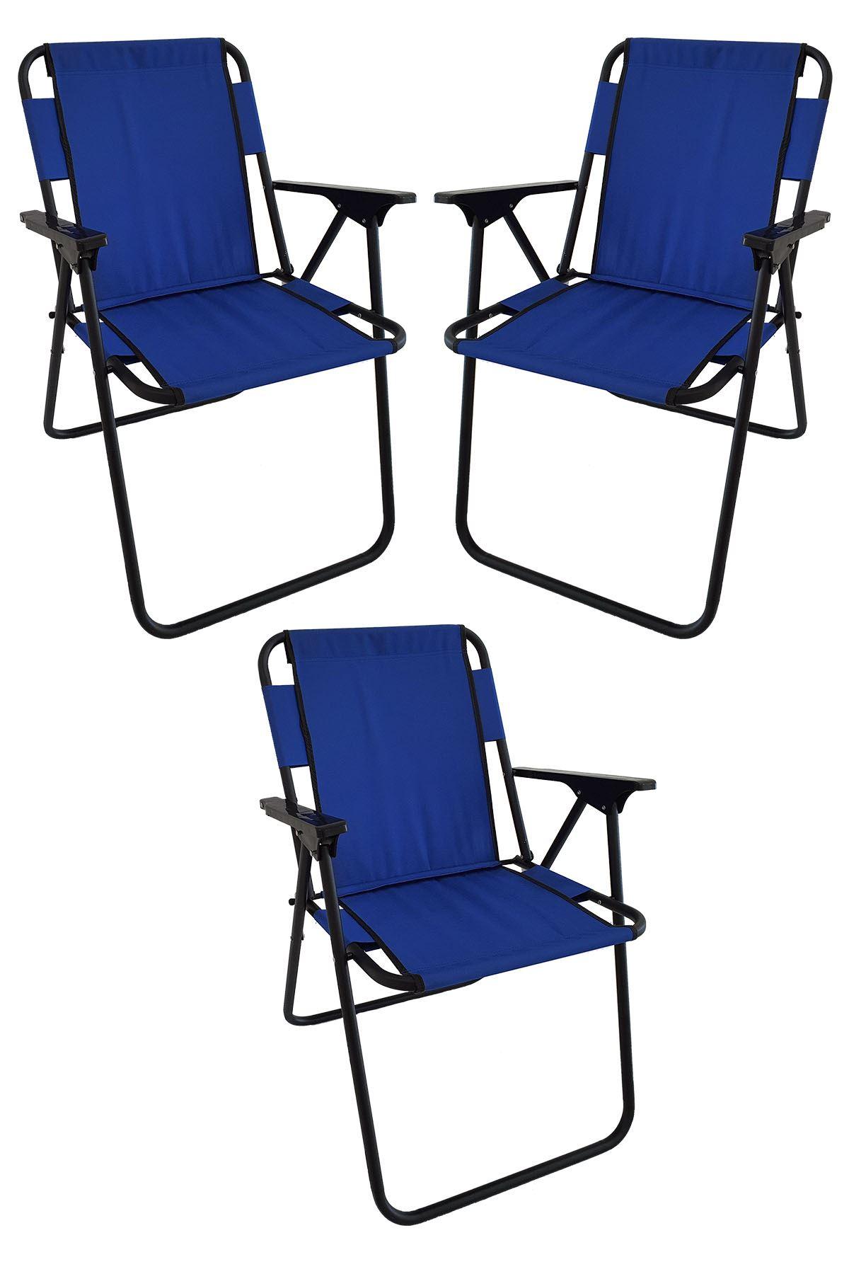 Bofigo 3 Adet Kamp Sandalyesi Katlanır Sandalye Piknik Sandalyesi Plaj Sandalyesi Mavi