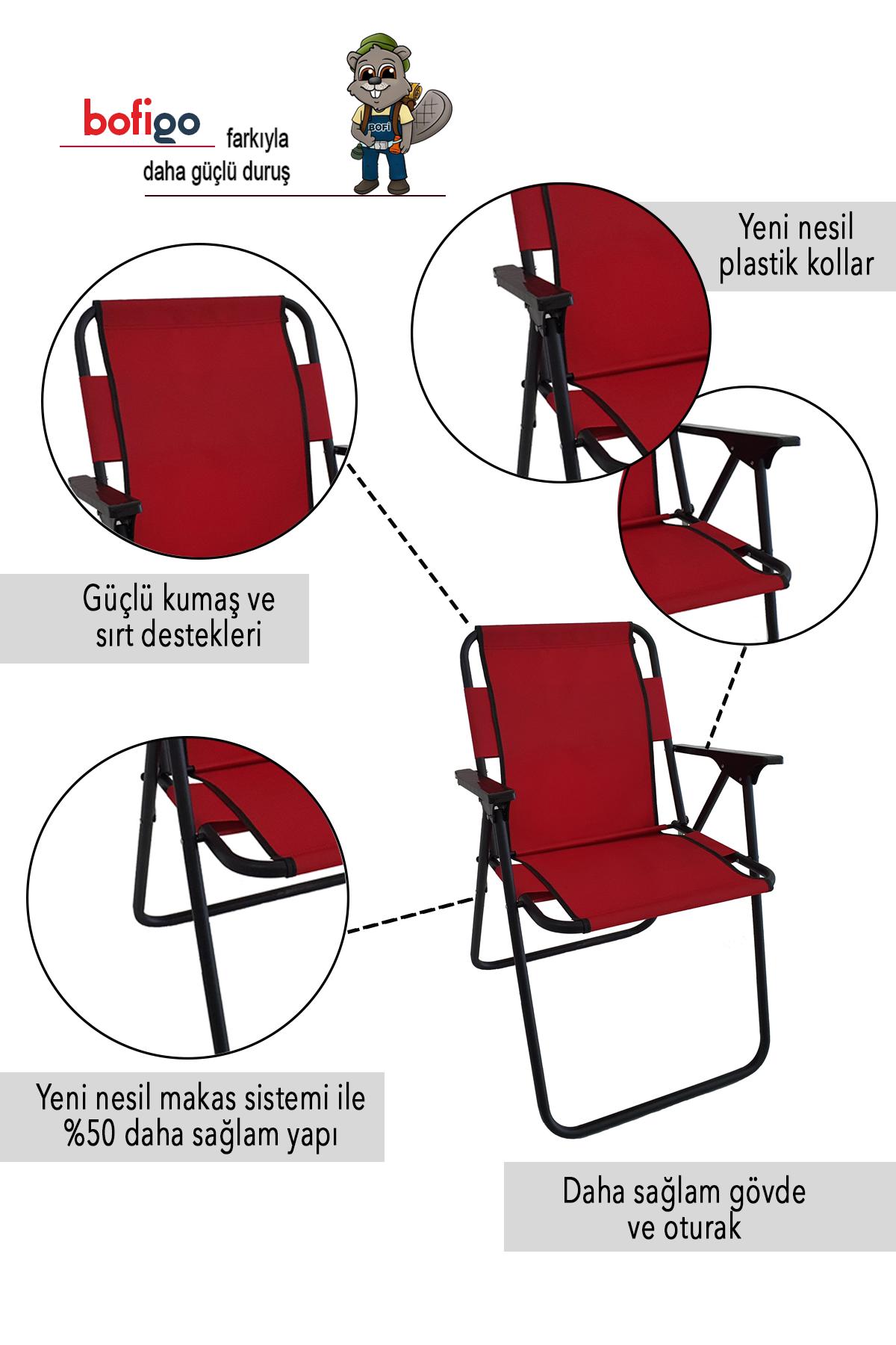 Bofigo 3 Adet Kamp Sandalyesi Katlanır Sandalye Piknik Sandalyesi Plaj Sandalyesi Kırmızı