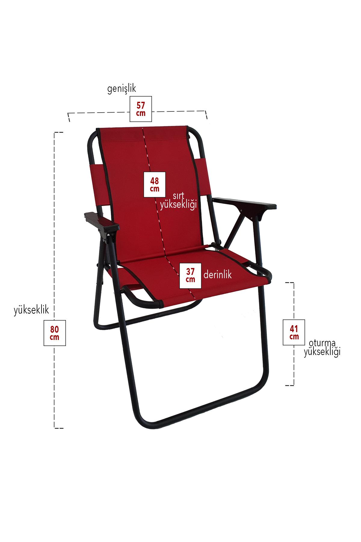 Bofigo 2 Adet Kamp Sandalyesi Katlanır Sandalye Piknik Sandalyesi Plaj Sandalyesi Kırmızı