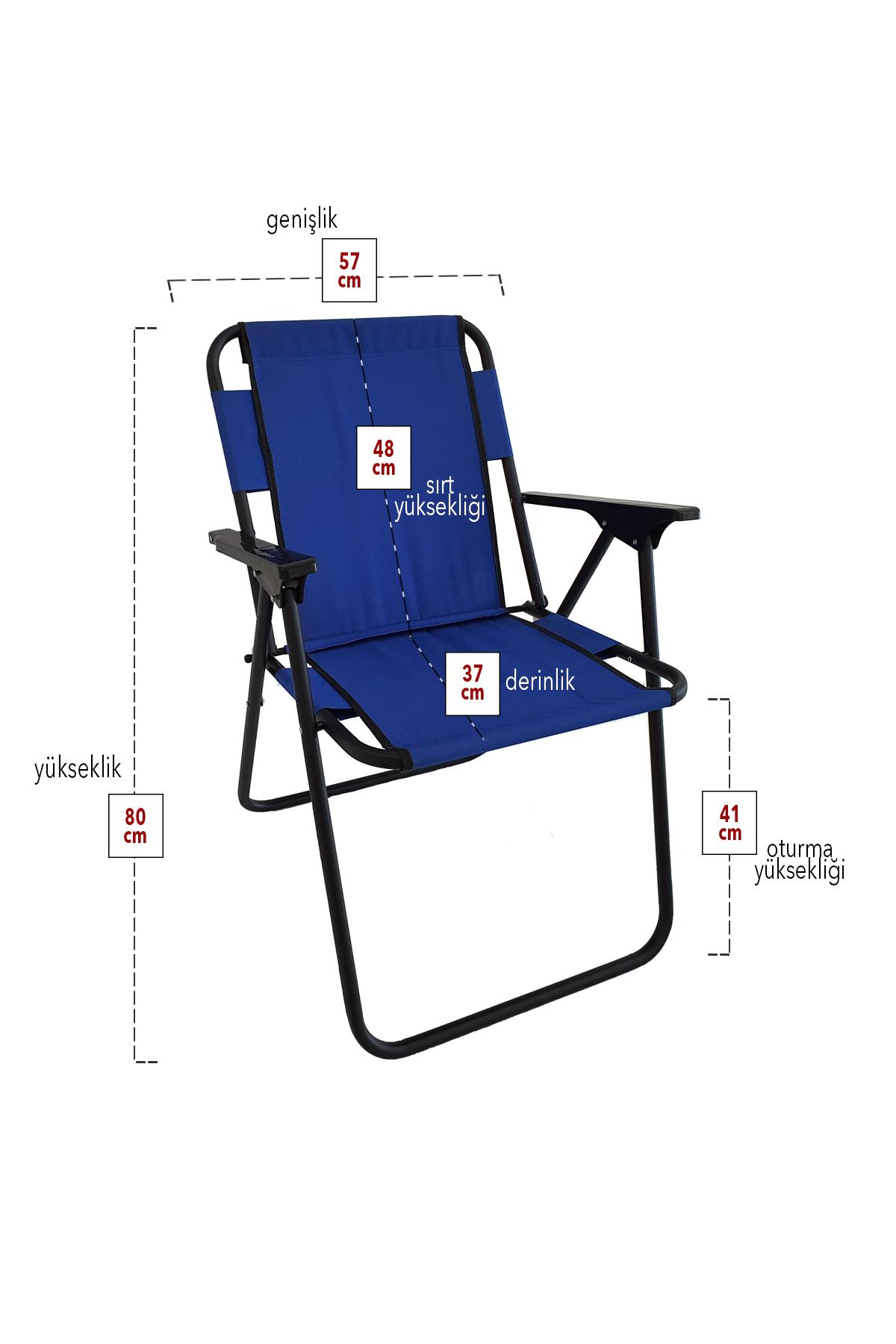 Bofigo 2 Adet Kamp Sandalyesi Katlanır Sandalye Piknik Sandalyesi Plaj Sandalyesi Mavi