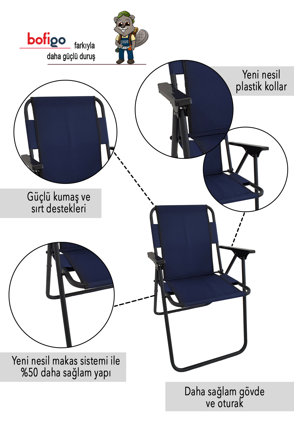 Bofigo Kamp Sandalyesi Katlanır Sandalye Piknik Sandalyesi Plaj Sandalyesi Lacivert
