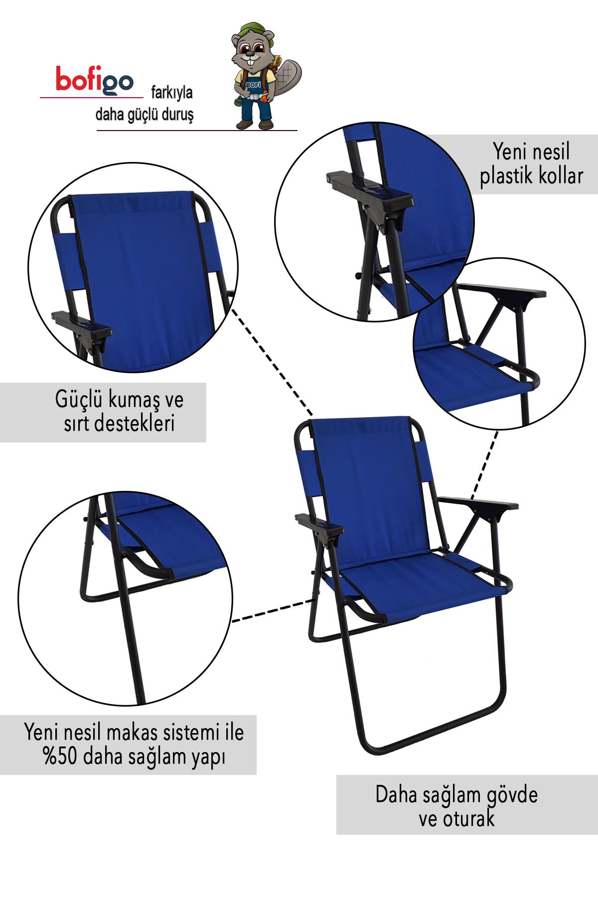 Bofigo Kamp Sandalyesi Katlanır Sandalye Piknik Sandalyesi Plaj Sandalyesi Mavi