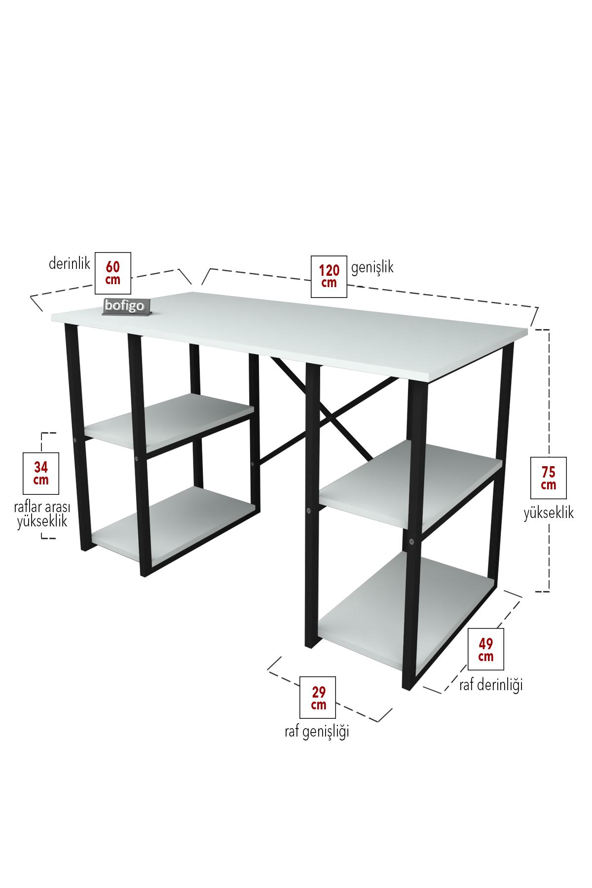 Bofigo 4 Raflı Çalışma Masası 60x120 cm Beyaz