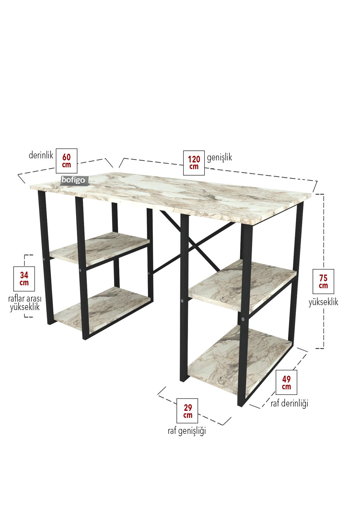 Bofigo 4 Raflı Çalışma Masası 60x120 cm Efes