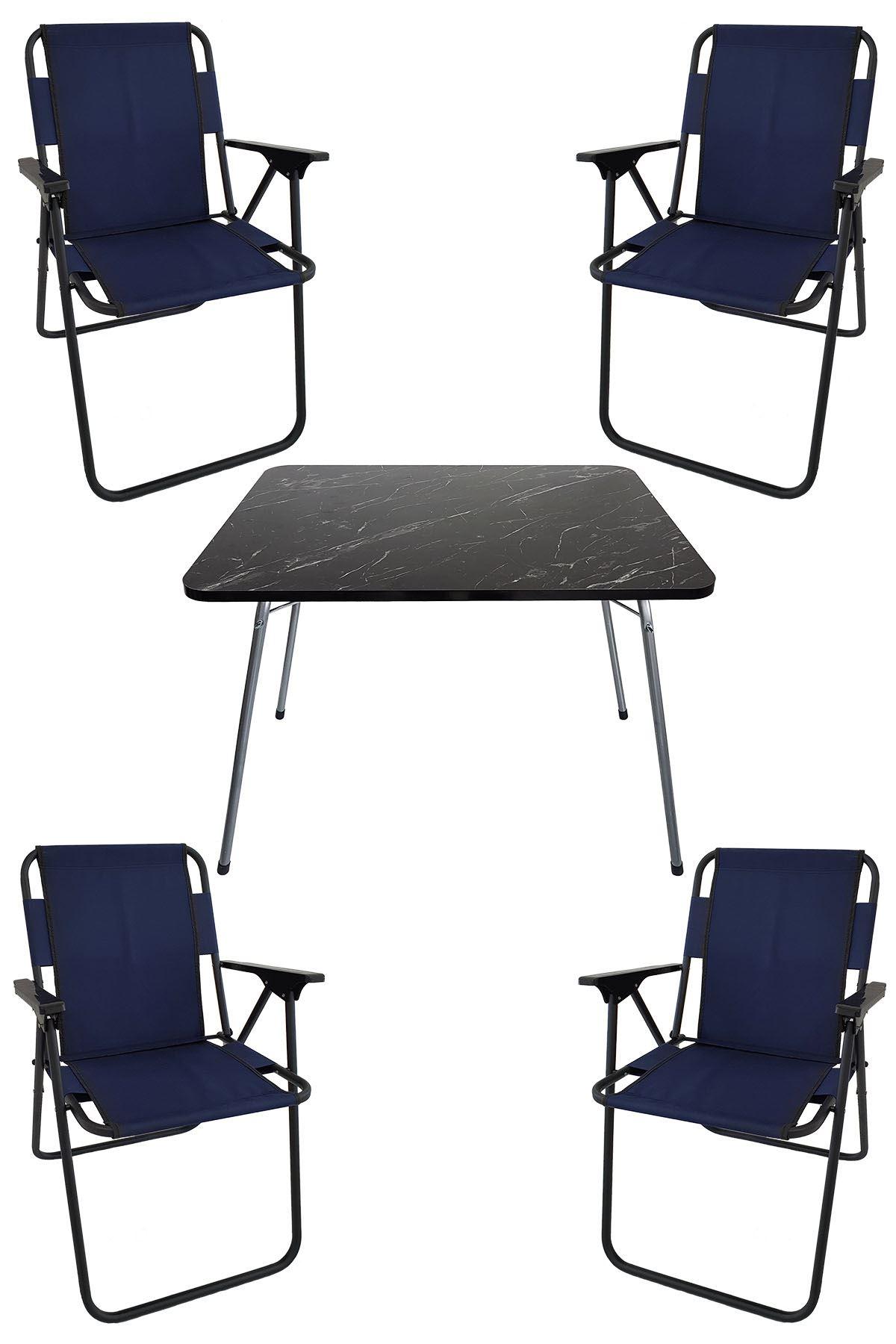 Bofigo 60X80 Granit Desenli Katlanır Masa + 4 Adet Katlanır Sandalye Kamp Seti Bahçe Takımı Lacivert