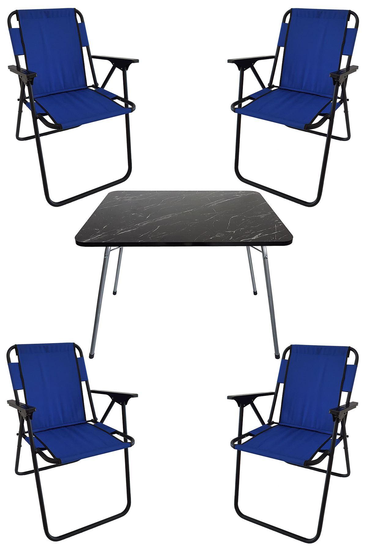 Bofigo 60X80 Granit Desenli Katlanır Masa + 4 Adet Katlanır Sandalye Kamp Seti Bahçe Takımı Mavi