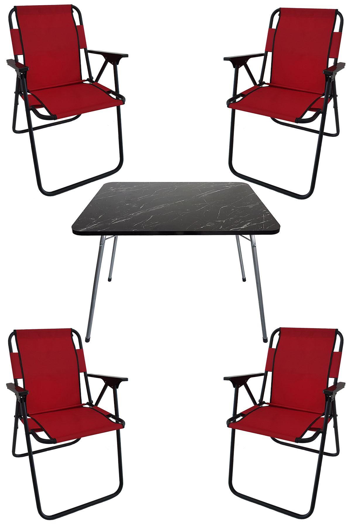 Bofigo 60X80 Granit Desenli Katlanır Masa + 4 Adet Katlanır Sandalye Kamp Seti Bahçe Takımı Kırmızı