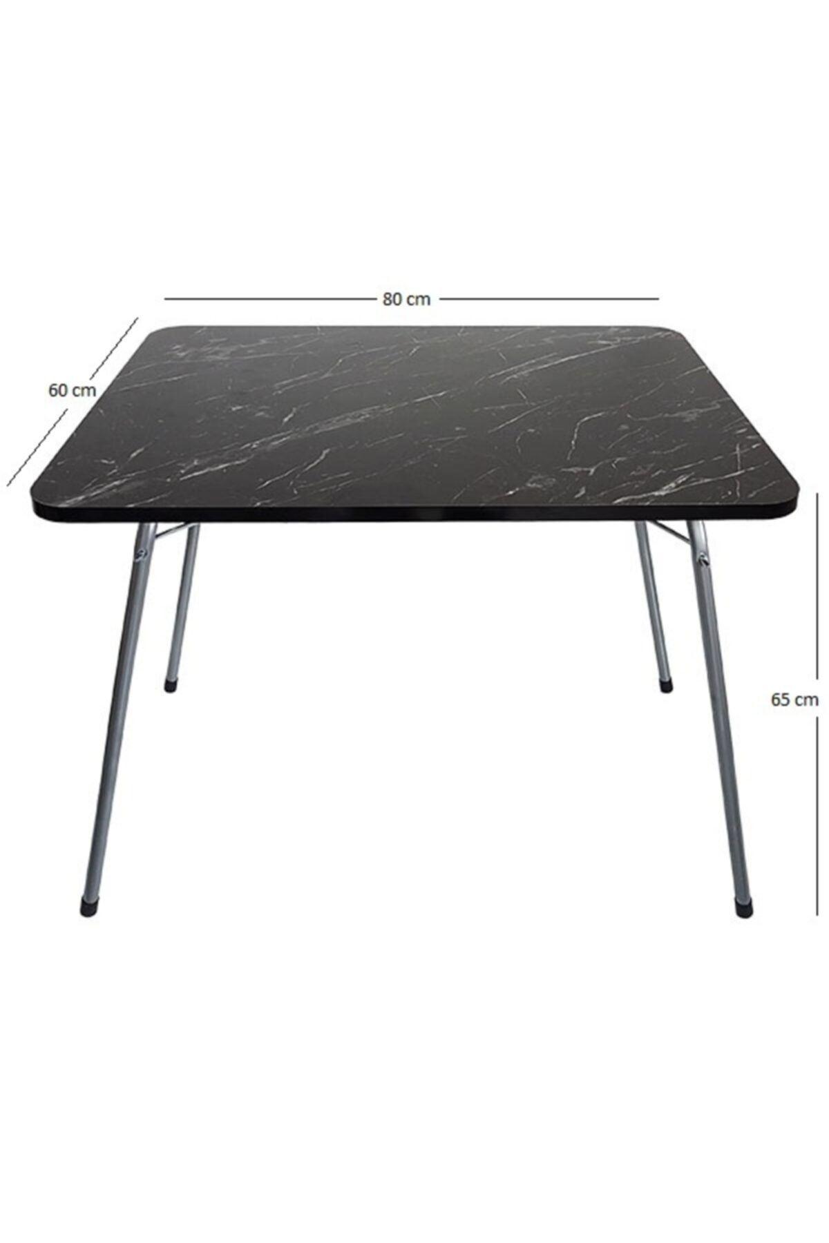 Bofigo 60X80 Granit Desenli Katlanır Masa + 4 Adet Katlanır Sandalye Kamp Seti Bahçe Takımı Yeşil