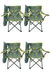 Bofigo 4 Adet Kamp Sandalyesi Katlanır Sandalye Bahçe Koltuğu Piknik Plaj Sandalyesi Desenli Gri
